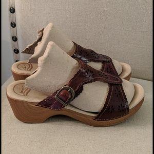 Dansko Women's Leather Platform Cut out Sandals